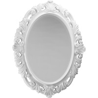 """Oval Wood Mirror CP Decorated Frame for Bathroom Vanity, Bedroom, 30.3"""" X 38.2"""""""