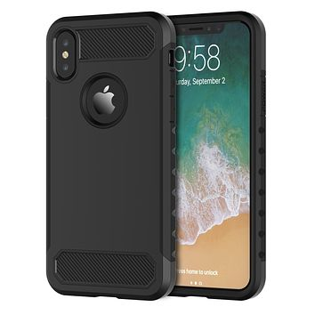 For iPhone XS and iPhone X Hybrid Case Dual Layer Heavy Duty Military Grade Protection