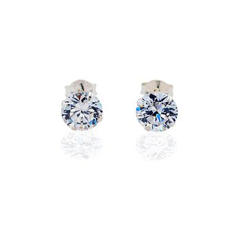 Chloe Cubic Zirconia Stud Earrings, 925 Sterling Silver