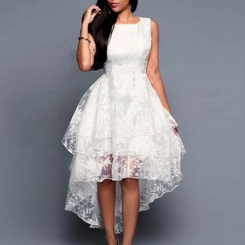 Summer High Low Vintage Retro Dress Womens Sleeveless Front Short Back Long Lace Organza Dress Ladies Elegant Party dress