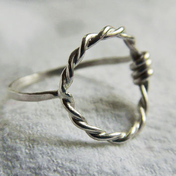 Twisted Sterling Silver Circle Ring