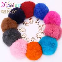 20Colors Trinket 10cm Fur Ball Keyrings Key Chain Highly Genuine Rabbit Fur Ball Keychain Women Fur Pom Pom Keychain Key Chain