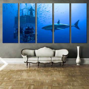 Diving Underwater Ocean Canvas Print Wall Art / Scuba Diving Water Sport Ocean Photography Blue Wall Art Canvas Print / White Shark Wall Art