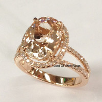 Oval Morganite Engagement Ring Pave Diamond Wedding 14K Rose Gold 8x10mm Split Shank