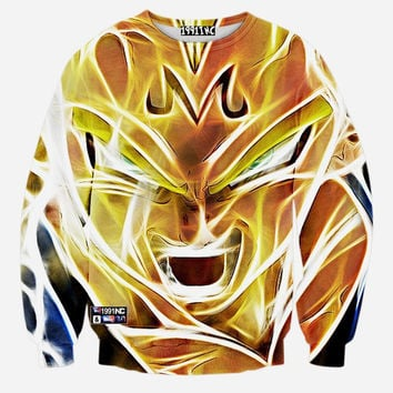 Majin Vegeta Dragon Ball Z Crew Neck Sweatshirt Men & Women DBZ Super Saiyan Harajuku Style All Over Print Sweater
