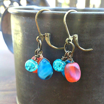 Free Shipping, Brilliant Blue and Orange earrings, Aqua Blue and Orange Glass dangle earrings.