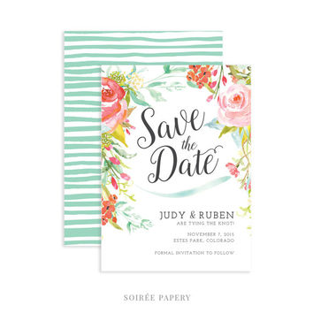 Spring Floral Wedding Save the Date | Spring Wedding, Watercolor Floral, Garden | Judy
