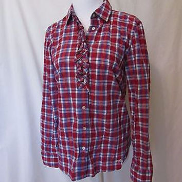 Talbots Blouse Shirt Women's Size 4 Long Sleeve Button Front Plaid Ruffle