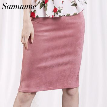 Samuume Sexy Multi Color Suede Midi Pencil Skirt Women 2017 Fashion Elastic High Waist Office Lady Bodycon Skirts Saias A1609022