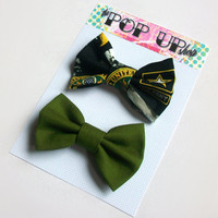 Army Hair Bows / Army Green Hairbows / Military Bow Clips Set / USA / Patriotic / Support the Troops / Women's Army Accessories