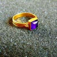 Beautiful 18k gold and amethyst ring- Gold 750 gemstone ring for women-Women's statement ring-Artisan jewelry-Greek art
