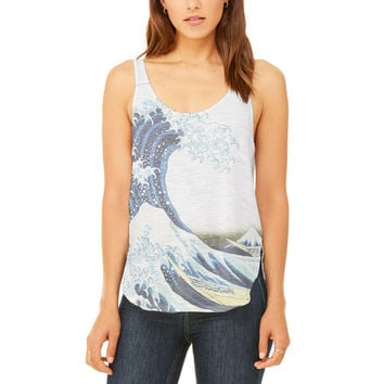 Great Wave Tsunami Japanese Painting Vintage Juniors Flowy Side Slit Tank Top