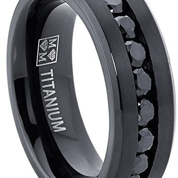 Men's Black Titanium Ring Wedding Engagement Band With 9 Large Channel Set Black CZ, 8mm | FREE ENGRAVING