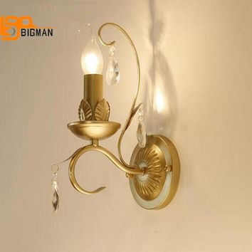 Classic design crystal wall light luxury hotel wall lamp E14 led bulb lustres home lighting