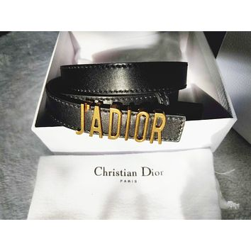 Dior tide brand female metal letter smooth buckle belt