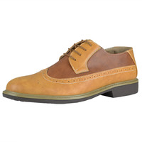 Mens Casual Shoes Lace Up Oxford Derby Two Tone Shoes Tan SZ