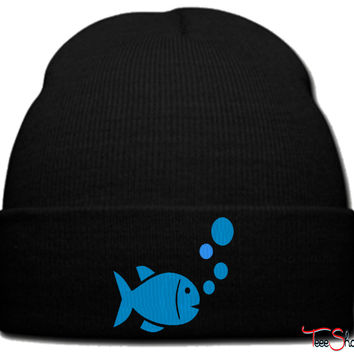 fish logo beanie knit hat