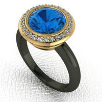 3 Carat Created Blue Sapphire Engagement Ring