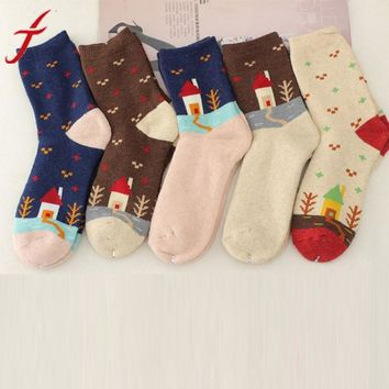 1 PCS 5 Colors Womens Winter Socks Cashmere Wool Thick Warm Fashion House Tree Printing Socks #LSN