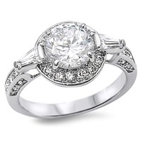 Sterling Silver Round and Baguette Halo Cubic Zirconia Engagement Ring