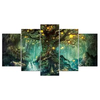 5 Piece Canvas Art Enchanted Tree Scenery Painting Wall Picture Print