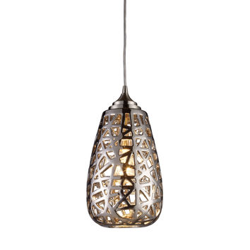 Nestor 1 Light Pendant In Polished Chrome And Chrome Plated Ceramic Shade