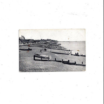 Early 1900s Black & White Photo Postcard of Herne Bay Beach, Kent, England, Posted with 1/2 Penny Stamp, Vintage British Postcard, Ephemera