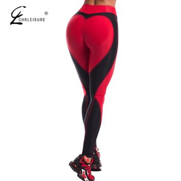CHRLEISURE Fashion Heart Push Up Leggings Women Fitness Workout Elastic Legging High Waist Sporting Leggins Bodybuilding Jegging