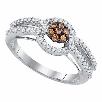 10kt White Gold Women's Round Brown Color Enhanced Diamond Cluster Bridal Wedding Engagement Ring 1-2 Cttw - FREE Shipping (US/CAN)
