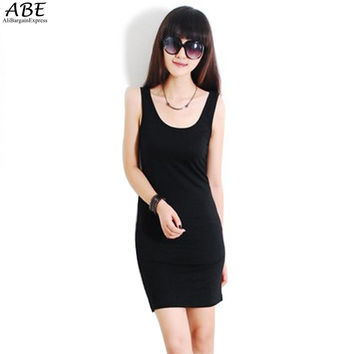 Solid Strap Candy Colors Stretch Cotton Sleeveless Mini Dress