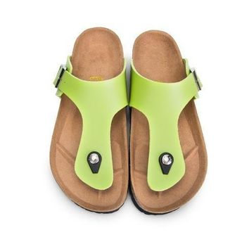 NEW Birkenstock Summer Fashion Leather Cork Flats Beach Lovers Slippers Casual Sandals