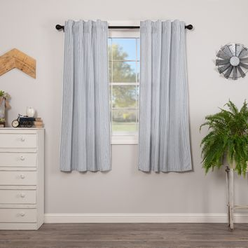 Sawyer Mill Blue Ticking Stripe Short Panel Curtains