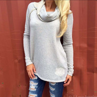 Long Sleeve Sweater with Neck Scarf