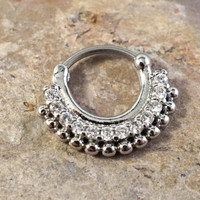 14g (1.6mm) or 16g (1.2mm) Silver Tribal Septum Clicker Daith Ring