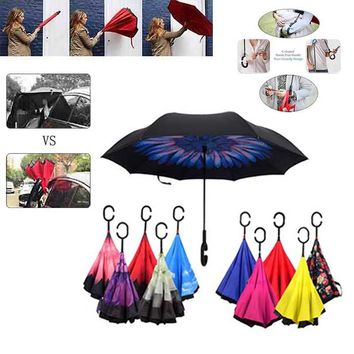 Windproof Self Stand Rain Protection C-Hook Hands Reverse Folding Double Layer Inverted Chuva Umbrella For Car Hot Sale