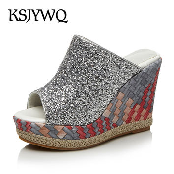 KSJYWQ Silver PU Leather Women Mules 11 cm Wedges with 4 CM Platform Summer Style Slippers Sexy High heels Box Packing 17-97