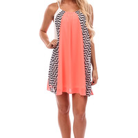 Bright Coral and Chevron Chiffon Dress