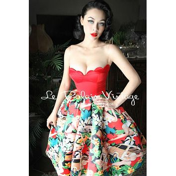 Le Palais Vintage limited  PIN UP Caribbean Flower Print With Shell Corsage Sweetheart Strapless Dress