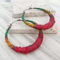 Rasta Hoop Earrings, Large, Red, Gold and Green, Silk Wrapped Hoops - Silk Road Collection
