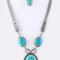 Silver and Turquoise Pendant Necklace/Earring Set