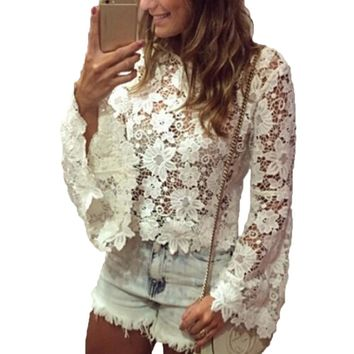 Women Lace Flare Sleeve Blouse Summer Spring O-neck Laces Long Sleeve Blouse Shirts Hollow Out Solid Color Tops