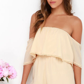 Breezy on the Eyes Beige Off-the-Shoulder Romper