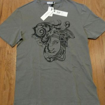 Mens Authentic Versace Collection Medusa Graphic T-Shirt Gray/Black Large $195