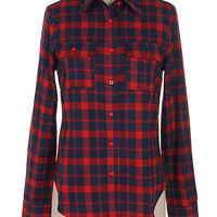 Primrose Fitted Flannel Plaid Top With Button Pockets: Navy and Red