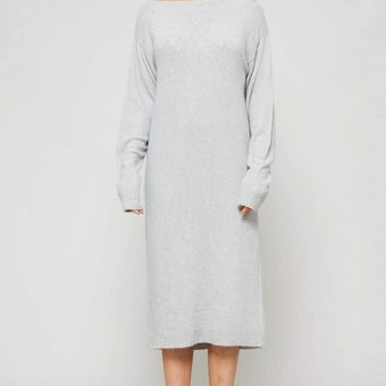 Crew Neckline Knit Midi Dress