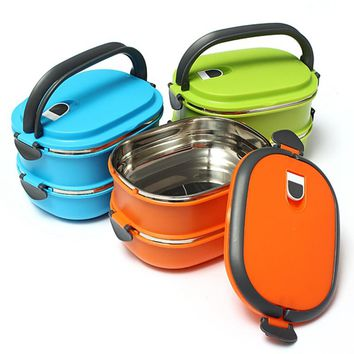 Hot Sale 1/2 Layer Korean Multicolor LunchBox Eco-Friendly Food Containers Outdoor Thermal Insulated Bento Dinnerware Sets