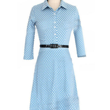 Blue Polka Dot Shirt Collar Long Sleeve A-line Mini Dress with Belt