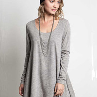 Exceptional Double Layered Shirt Dress - Heather Grey