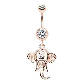 Shri Ganesha Elephant Belly Button Ring (Rose Gold)