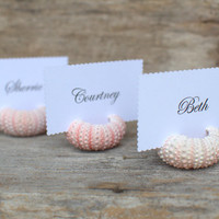 Beach Wedding Natural Pink Sea Urchin Shell Place Card Name Holders - 10 -Reception Table Chic Decor - Ocean Nautical Guest Escort Favor